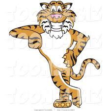 vector illustration of a cartoon tiger mascot leaning by toons4biz