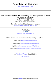 for a new periodization of indian history the history of india as