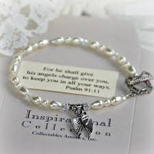 fine charm bracelet images Fine glass pearl angel wing charm bracelet he will cover you jpg