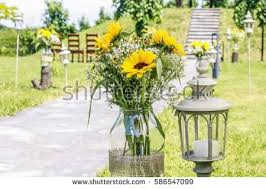 Sunflower Decorations Woman Entering Secret Garden Through Gate Stock Photo 604562558