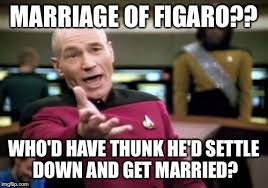 Settle Down Meme - marriage of figaro who d have thunk he d settle down and get