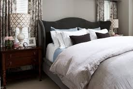 masculine bedding bedroom transitional with bed pillows bedside