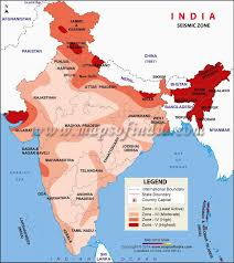 map of be seismic zoning map of india
