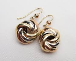 knot earrings deco tri gold knot earrings knot dangle earrings