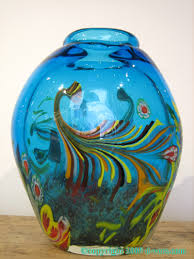 Vintage Hand Blown Glass Vases Italian Murano Art Glass Vase With Blue Floral Design Made In