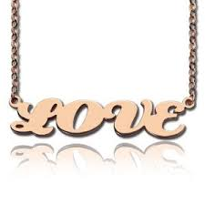 Rose Gold Name Necklace Custom Soild Gold Name Necklace Customized Personalized Name