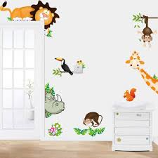 Forest Nursery Wall Decals by Tropical Jungle Animals Wall Stickers Decal Kids Monkey Deer