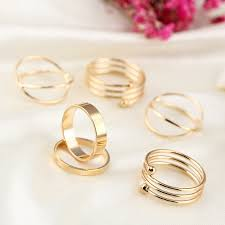 set ring 6 pieces gold rings set women cross midi knuckle ring multilayer