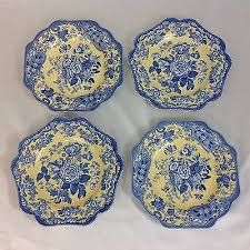 spode blue room yellow garden collection four plates