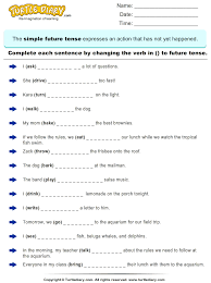 complete sentences by writing future tense form of verb worksheet