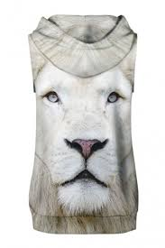 lion print fancy white lion print sleeveless hoodie with sports shorts