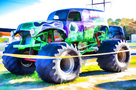 monster truck grave digger painting lanjee chee