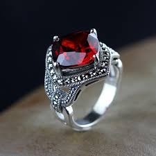 old rings silver images 925 silver jewelry silver ring retro green agate chalcedony ruby jpg