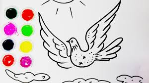 how to draw bird coloring pages dove kids learn drawing art