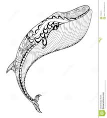vector zentangle whale print for coloring page hand drawn