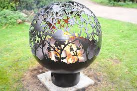 The Firepit Sperical Firepit With Orchid Theme By The Firepit Company