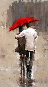rainy romantic lover couple back art iphone 8 wallpaper download