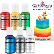 best food coloring cake supply 6 metallic color set use on cakes