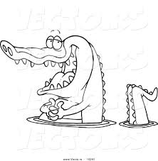 vector of a cartoon happy gator wading in water outlined