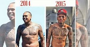 chris brown shows dramatic weight loss with before and