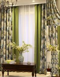 Leaf Pattern Curtains Cotton Lined Blend Printed Leaf Pattern Blackout Curtain