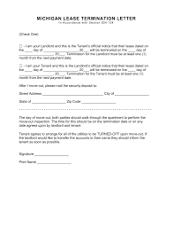 Writing A Letter Of Resignation Template Michigan Lease Termination Letter Form 30 Day Notice Eforms