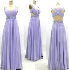prom dress with crossover back lavender prom dress chiffon prom