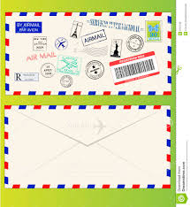 air mail envelope with postal stamps stock vector image 8167185