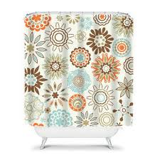 Aqua Blue Shower Curtains Shower Curtain Brown Aqua Blue Orange From Honeydesignstudio On