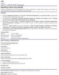 sample resume for mechanical production engineer sample cover