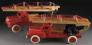 wooden truck toy a group of two brio sweden wooden toy fire trucks