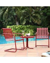Conversation Sets Patio Furniture by Bargains On Crosley Gracie Coral Red Metal 3 Piece Outdoor