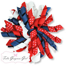 white and blue bows patriotic white and blue korker hair bow accessory for