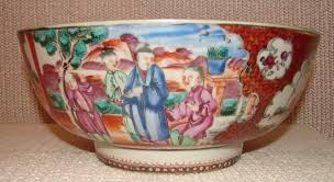 mandarin porcelain c 1770 export mandarin palette punch bowl for sale