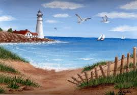 lighthouse drawings this is acrylic paint on canvas size 9x12