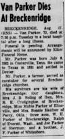 Abilene Reporter News From Abilene Texas On March 10 1955 by Evelyn Elizabeth Macomber Nee Sullivan Death Notice From Abilene