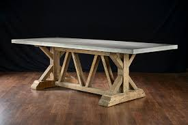 reclaimed trestle dining table concrete and reclaimed trestle base dining table mecox gardens