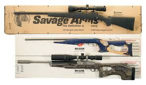 three rifles a savage model 10flp left handed bolt action rifle
