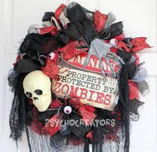halloween mesh wreath u2013 red gray black zombie apocalypse warning