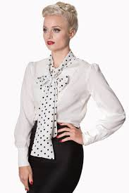 white tie neck blouse sent with tie neck blouse in white with black polka dot