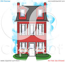 Three Story House by Large Three Story Red Brick House Clipart By Djart 5041