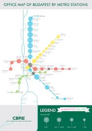 Metro Viena Map by Cbre Map Plots Office Rents Against Metro Stations The Budapest
