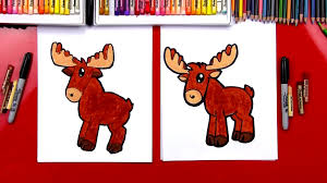 how to draw a cartoon moose art for kids hub