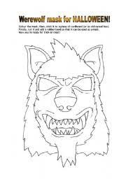 worksheet werewolf mask for halloween