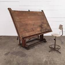 Antique Wooden Drafting Table by Very Large Architect Table Espace Nord Ouest