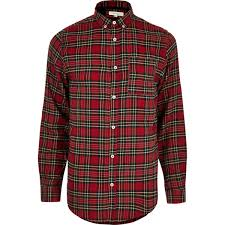 Red Check Tartan Print Casual Shirt Shirts Sale Men
