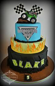 monster trucks for kids blaze monster truck cake with flames 3 tier boys birthday fiesta blaze
