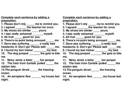 fill in missing prepositions by rajnag teaching resources tes