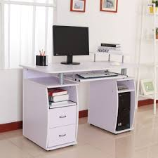 Compact Computer Desk Office Furniture Throughout Small Computer Desk With Printer Shelf