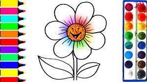 rainbow flower coloring page drawing cute flower learn colors